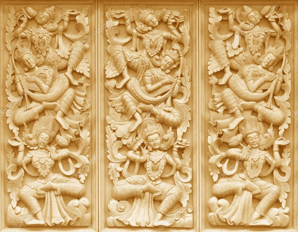 Wood carving Buddhist — Stock Photo © scenery1 #89058578