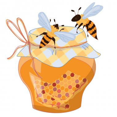 Jar of honey with flying above it bees, flat vector illustration isolated on white background. Honeybees and honey image for packs and print materials. icon