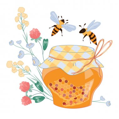 Honey with flying above it bees and flowers, flat vector illustration isolated on white background. Honeybees and honey decorative image for packs and prints. icon