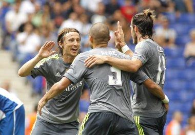 Luka Modric(L) Pepe(C) and Gareth Bale(R) of Real Madrid