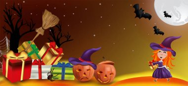 Characters Halloween pumpkins, cobweb, bats, broomstick, spider and little witch with a hat. Happy characters under the moonlight, Happy Halloween. Vector illustration icon