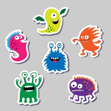 Set marvelous colored stickers monsters
