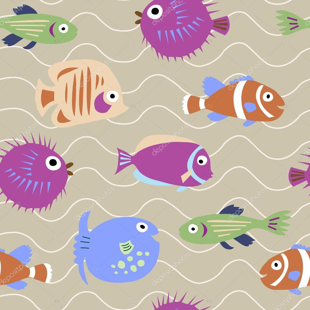 Seamless pattern with marine fish with waves