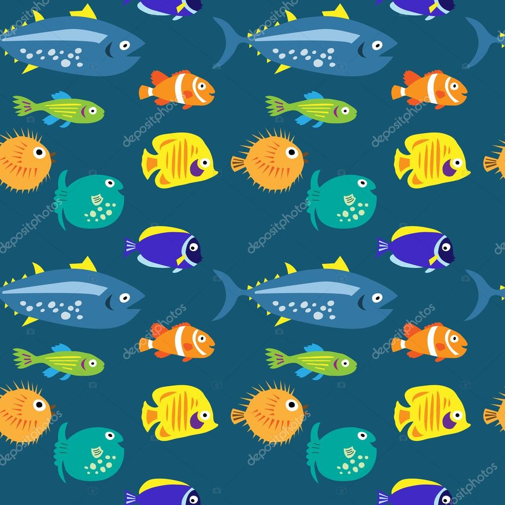 Seamless pattern with sea fish on a blue background