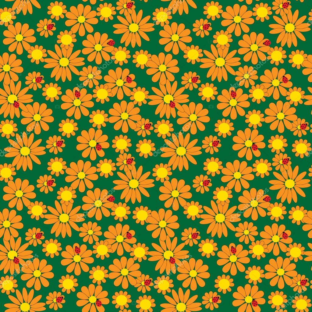 Seamless pattern of flowers and ladybirds