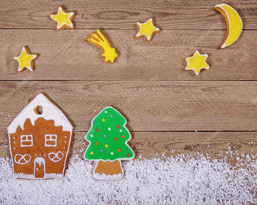 Kartki świąteczne Z Kolorowe Pierniki Zdjęcie Stockowe