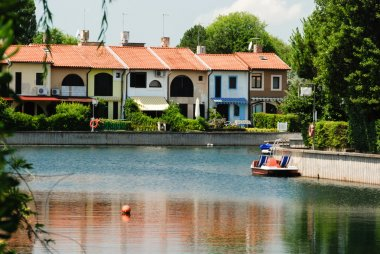 Colourful vacation houses on a canal