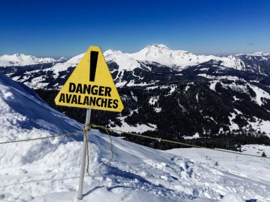 Avalanche danger sign in a mountain landscape
