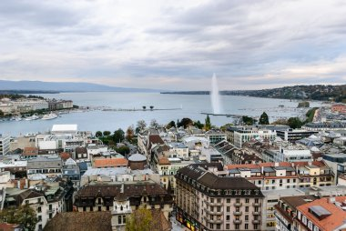 View over Geneva and the lake with the Jet d'Eau fountain