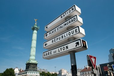Roadsigns in Paris on Place de la Bastille