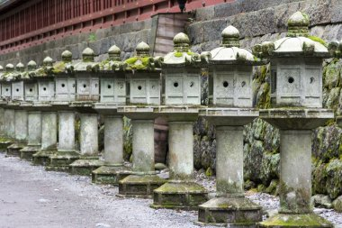 A row of traditional Japanese lanterns