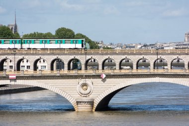Subway train on a bridge in Paris