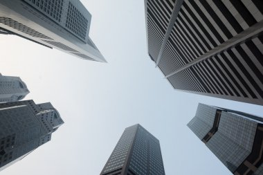 Skyscrapers in Singapore viewed from the ground
