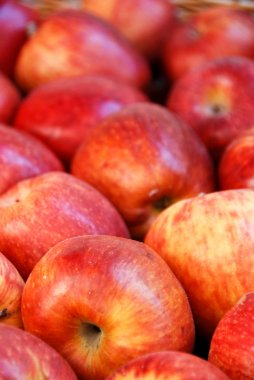 Red apples on a farmers market
