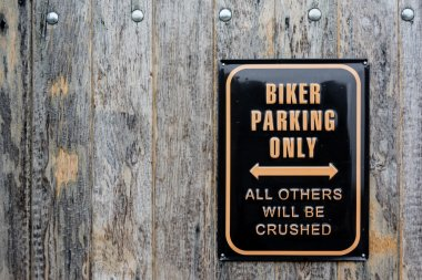 Humorous sign for biker parking