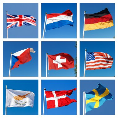 Collage with flags of different countries