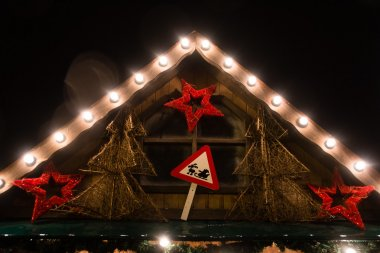 Fake Santa Clause road sign in a Christmas fair
