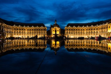 Historical building in Bordeaux reflected in a water pond
