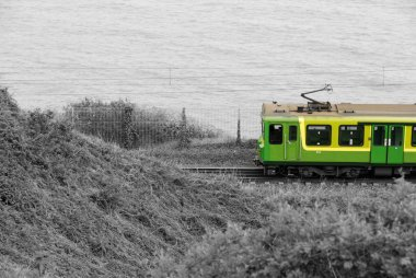 Colorful green train in a grayscale landscape