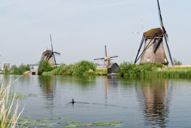 Dutch windmills reflected in a canal