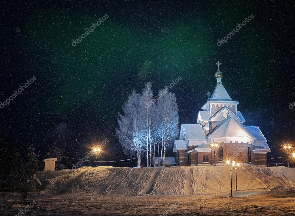 Northern lights in winter night