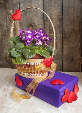 The basket of flowers violets and gift with hearts and gold ribbon