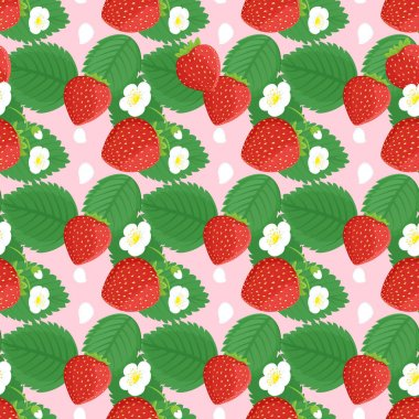Background seamless design with strawberries and flowers