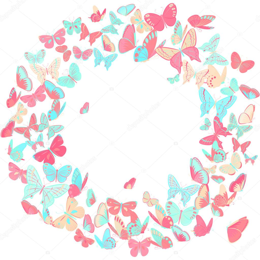 Butterfly frame, wreath design element in pink and blue — Stock ...