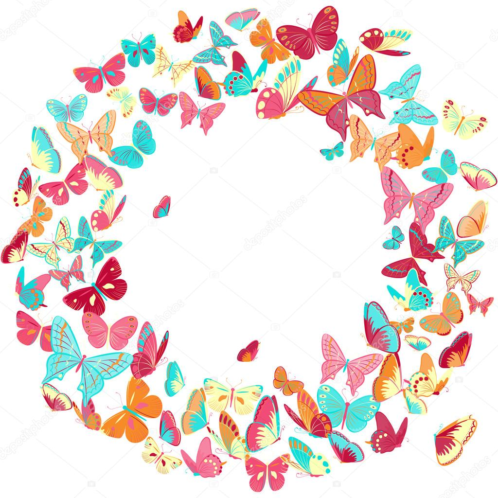 Butterfly frame, wreath design element, retro banner — Stock Vector ...