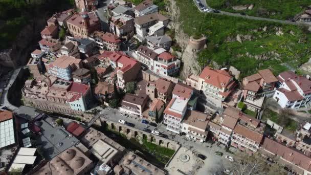 Letecký pohled na pevnost Narikala a kostel sv. Mikuláše. Okres Staré Tbilisi