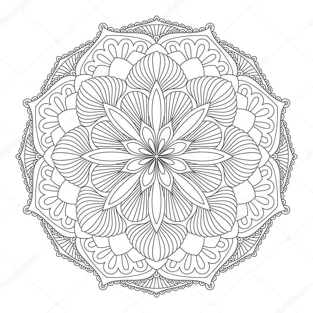 Monochrome Kontur Mandala Zum Ausmalen Stockvektor Shotina