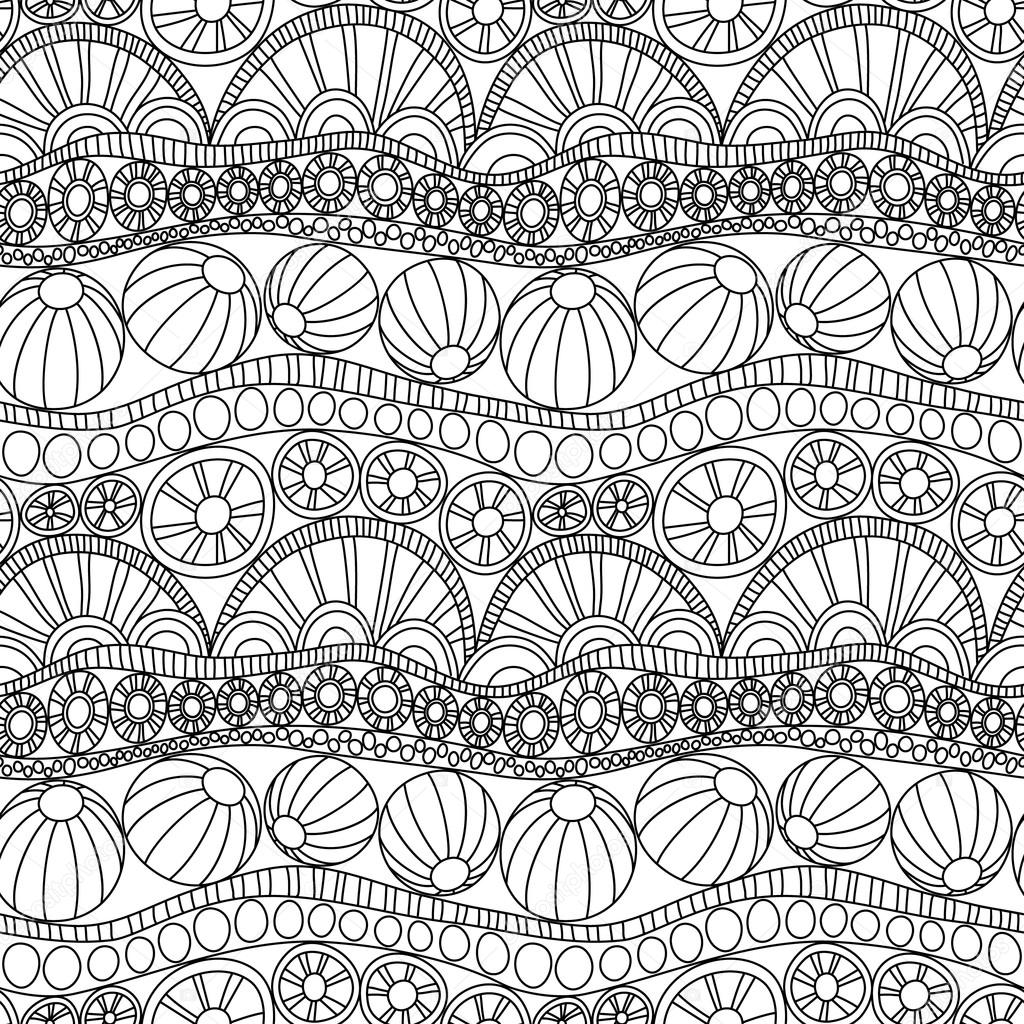 doodle abstract seamless ornament coloring page doodle ornament