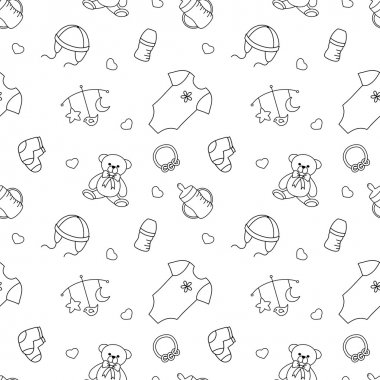 Seamless monochrome pattern with baby elements.