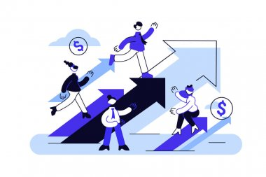 Concept career growth. Business vision. Career, start up, take-off on the career ladder. Flat style vector illustration for web page, social media, documents, cards. People sitting on arrow and up go. icon