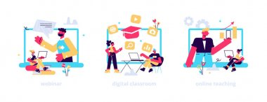 Educational web seminar, internet classes, professional personal teacher service icons set. Webinar, digital classroom, online teaching metaphors. Vector isolated concept metaphor illustrations icon