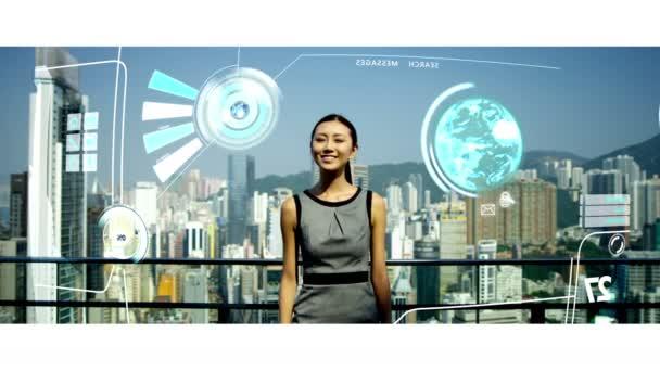 podnikatelka pomocí dotykové obrazovky