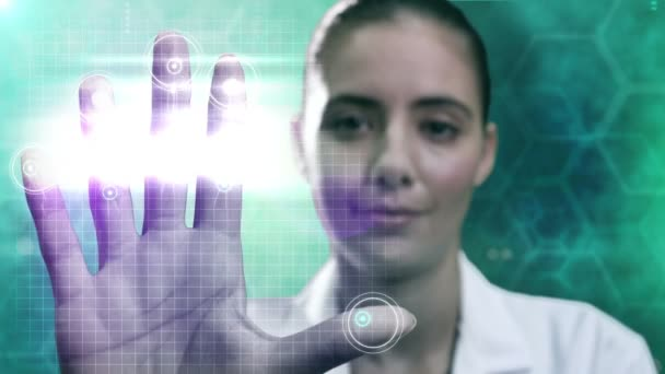female doctor using touchscreen technology
