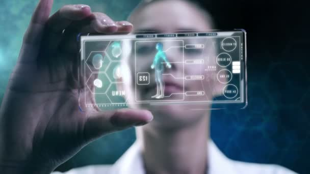 female scientist using touchscreen technology display
