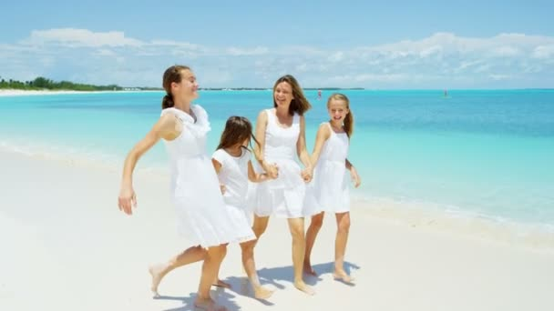 d2d6768d432aa mother with daughters enjoying beach vacation — Stock Video ...