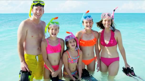 Caucasian family with snorkeling equipment