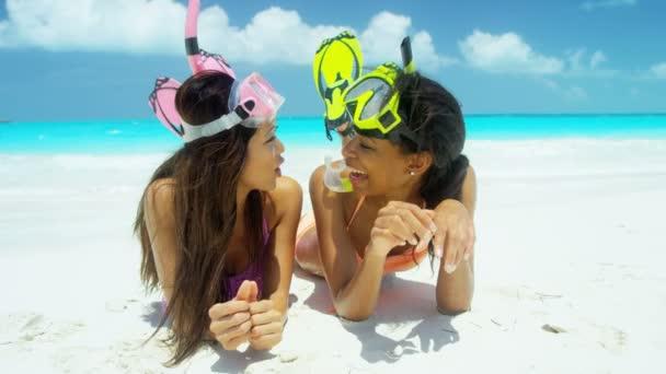 multi ethnic girls going snorkeling