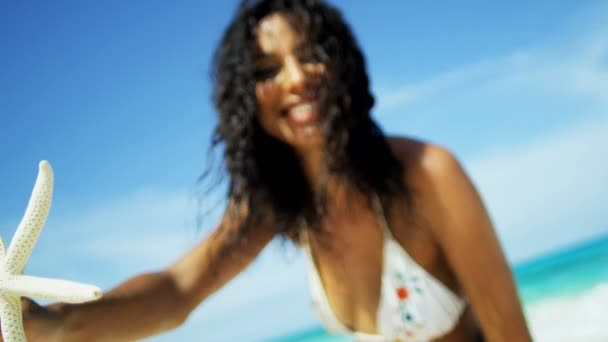 girl in a bikini on a tropical beach