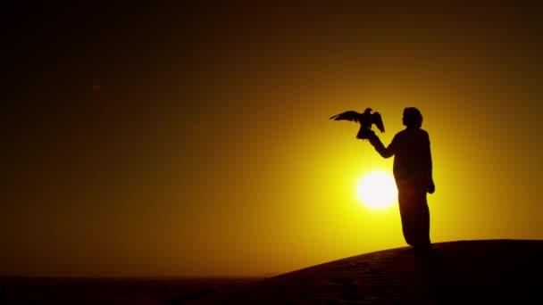 muž s dravce na pouštní písek