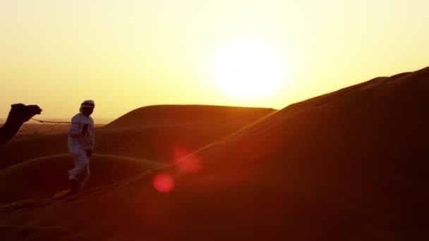 camel train travelling across desert