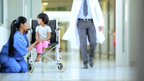 Male Asian Indian Pediatric Doctor Child Patient Hospital Corridor