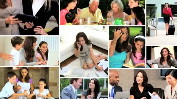 Montage of full time Multi ethnic woman at home and working