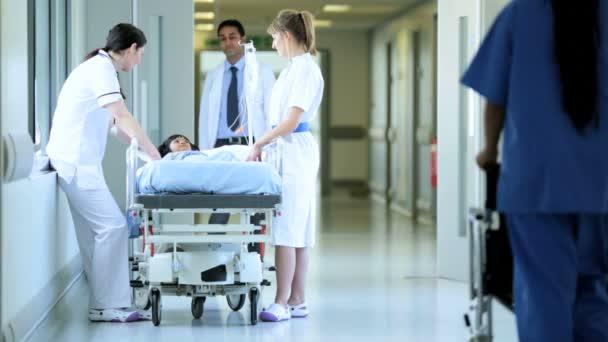 Pediatrician and nurses checking little girl