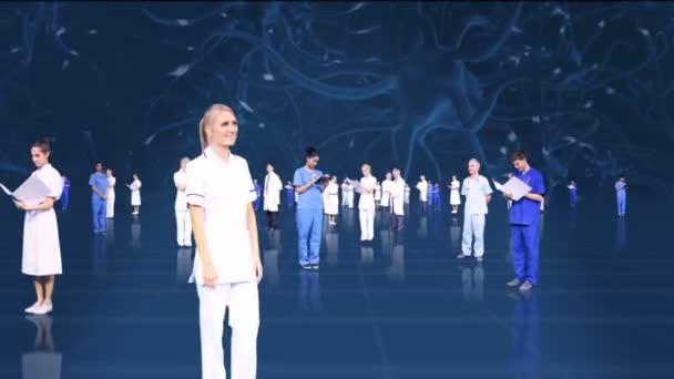CG montage fly through medical Multi ethnic team neuron background