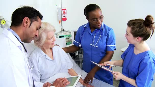 Retired Hospital Patient Being Treated Nursing Staff Close Up