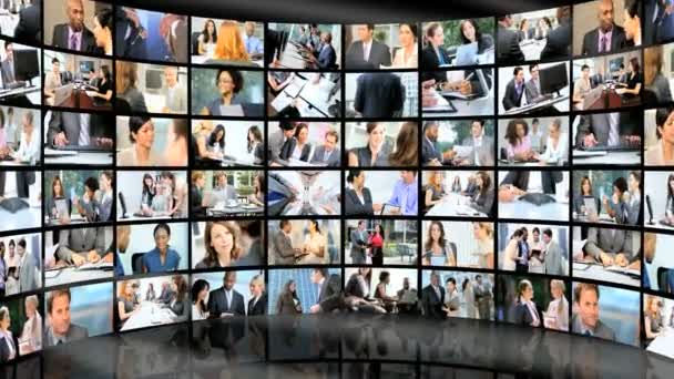 3D wall montage of Multi ethnic business managers working city